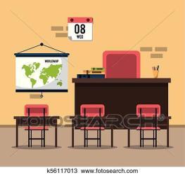 Empty classroom cartoon Clipart k56117013 Fotosearch