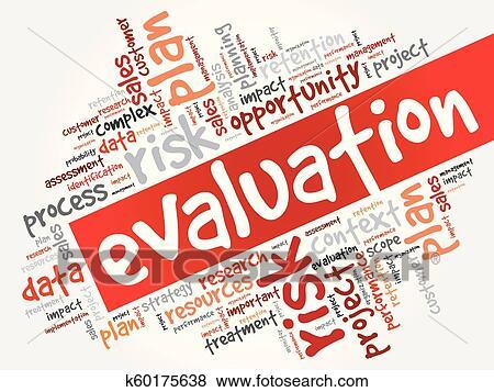 Evaluation word cloud collage Clip Art | k60175638 | Fotosearch