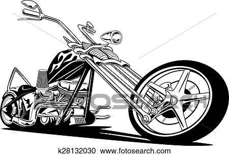 Clipart of Custom American Chopper Motorcycle k28132030