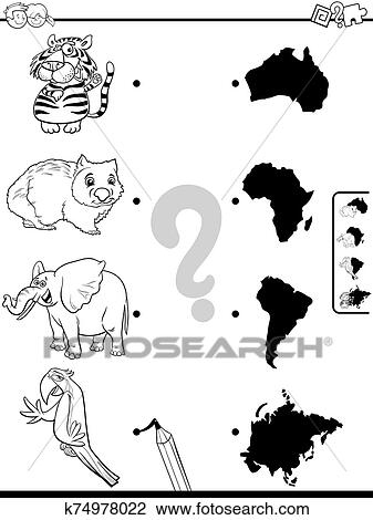 Match animals and continents game coloring book Clipart