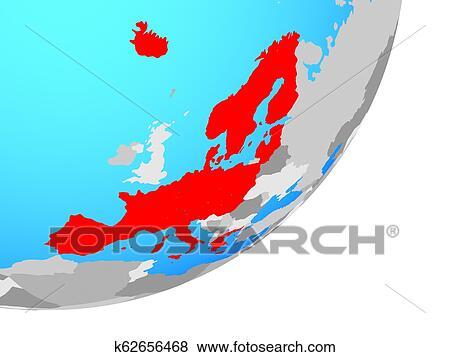Map of Schengen Area members on globe Stock Illustration | k62656468 | Fotosearch