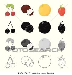 fruit cherry outline orange clip flesh coconut delicious monochrome fruits strawberry berry symbol icons vector cartoon collection illustration fotosearch