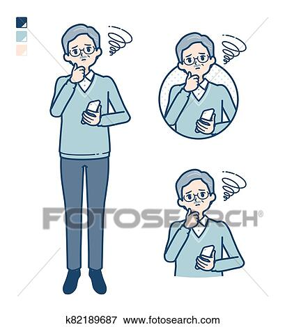 Simple senior man_smartphone-sigh Clip Art | k82189687 | Fotosearch