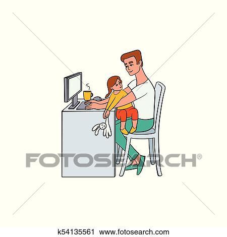 ベクトル, 平ら, 人々, 家 から 働くこと, リモート, 仕事 クリップアート(切り張り)イラスト「絵畫」集 ...