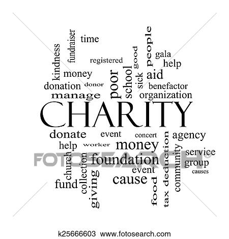 Drawing of Charity Word Cloud Concept black and white