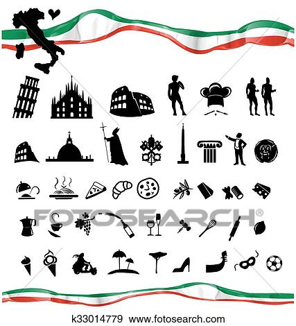 italien symbole ensemble a drapeau clipart