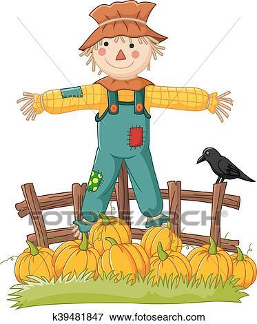 clip art of cartoon scarecrow character
