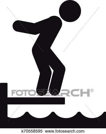 Diving Board Clipart : diving, board, clipart, Diving, Board, Icon,, Simple, Style, Clipart, K70558595, Fotosearch
