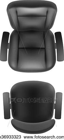 office chair illustration dining stainless steel legs clipart of and boss armchair top view k36933323 fotosearch search clip art