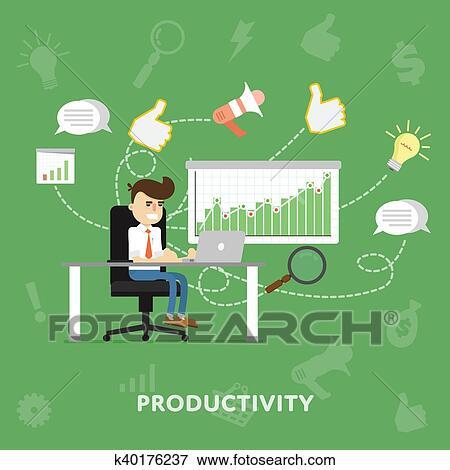 ビジネスマン, で 働くこと, 彼の, ラップトップ イラスト | k40176237 | Fotosearch