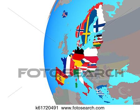 Schengen Area members with flags on globe Clip Art | k61720491 | Fotosearch