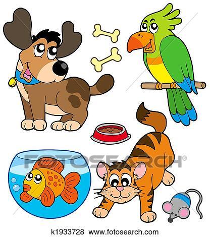 cartoon pets collection stock