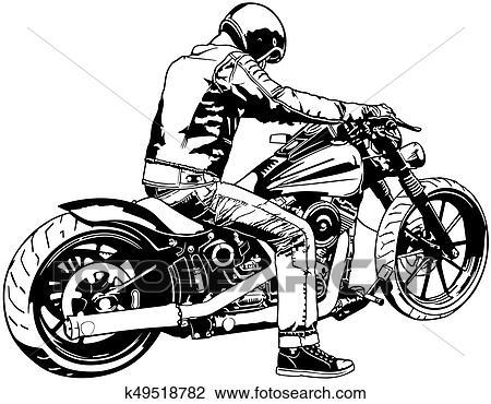 Harley Davidson and Rider Clipart k49518782