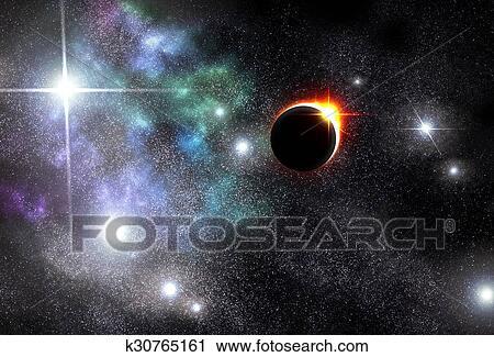 Eclipse Universe Starscape Background Clip Art | k30765161 | Fotosearch