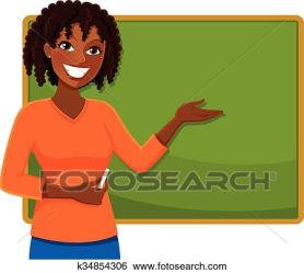 teacher clipart happy clip african standing drawing vector drawings fotosearch icon graphic ethnicity blackboard illustration graphics royalty line