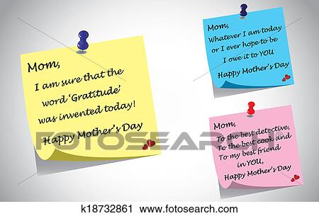 Download Different colorful happy mothers day quotes post it note ...