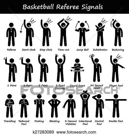 Clip Art of Basketball Referees Hand Signals k27283089