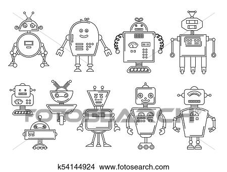 Clipart of Vector illustration of a Robot. Mechanical