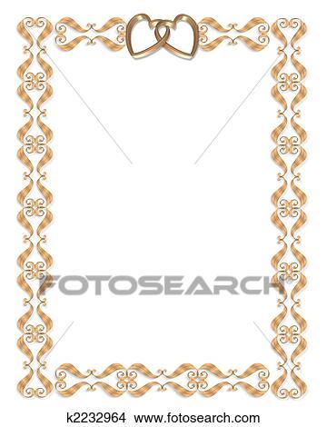 Wedding Invitation Border Gold Hearts Stock Ilration