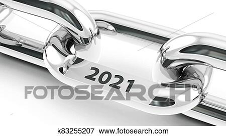 Chain with 2021 link Stock Illustration | k83255207 ...
