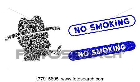 Mosaic Cigarette Smoker Icon with Coronavirus Grunge No Smoking Seal Clipart | k77915695 | Fotosearch
