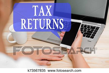 Word writing text Tax Returns. Business concept for Tax payer financial information Tax Liability and Payment report woman laptop computer ...