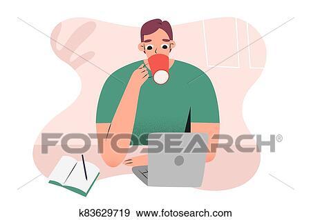 若者, 家 から 働くこと, ∥あるいは∥, カフェ, ∥で∥, ノート, ラップトップ, 飲むこと, 彼の, コーヒー ...