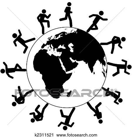 Clipart of International global symbol people run around