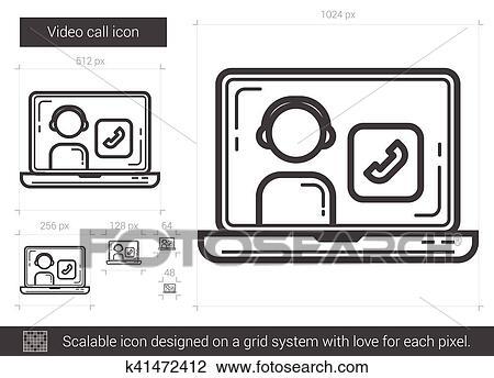 Video call line icon. Clipart   k41472412   Fotosearch