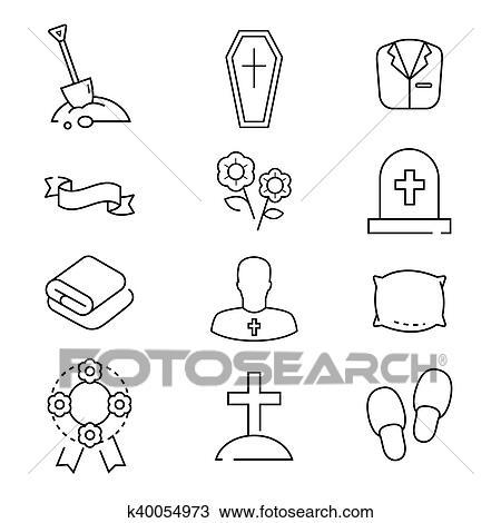 Icons set for funeral agency. Line symbols isolated on