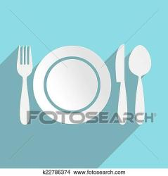 restaurant menu icon fotosearch clipart cutlery plate flat