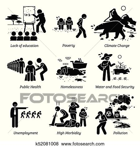 Social Issues and Critical Problems Pictogram Icons. Clip
