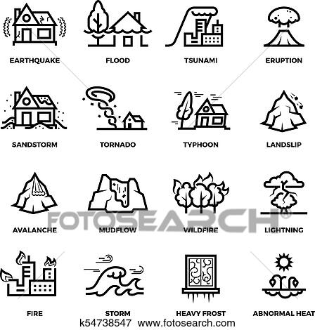 Clip Art of Natural disaster accidents line vector icons