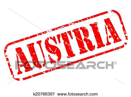 Clip Art of Austria red stamp text k20766397 Search