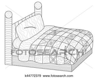 Bed with a patchwork quilt Coloring book vector for adults Clip Art k44772379 Fotosearch