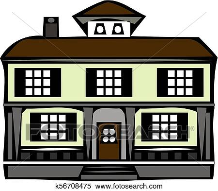 Family Vacation House Mansion Real Estate In Rural Area Facade Apartment House Clipart K56708475 Fotosearch