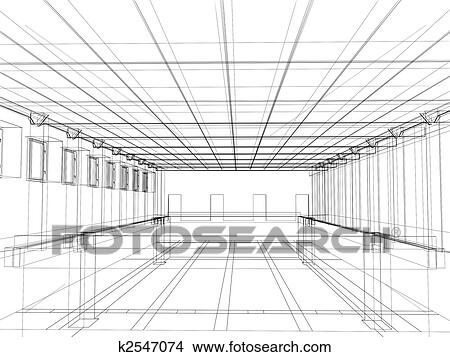 Drawings of 3d sketch of an interior of a public building