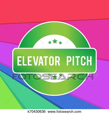 Text sign showing Elevator Pitch. Conceptual photo A persuasive sales pitch Brief speech about the product Colored Round Shape Label Badge Stars ...