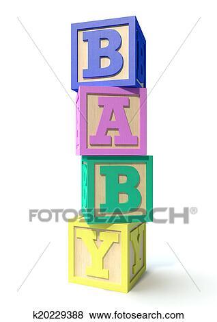 Stock Illustration Of Stacked Baby Blocks K20229388