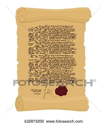 Ancient Royal Decree with print. Secret Old yellow scroll. Abstract calligraphy text. Antique manuscript. Old faded paper document Clipart ...