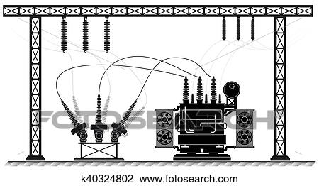 Clipart of Electrical substation. The high-voltage