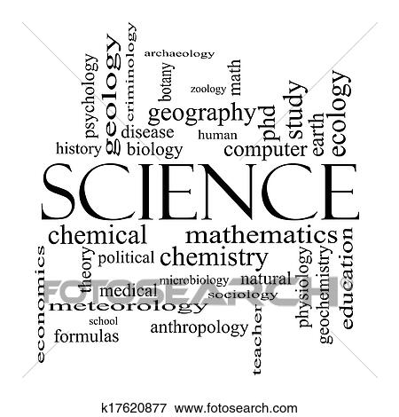 Picture of Science Word Cloud Concept in black and white