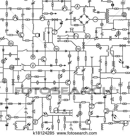 Clipart of Seamless of electrical circuit. k18124285