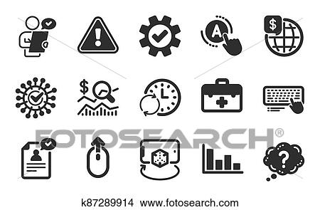 Check investment, World money and Question mark icons set