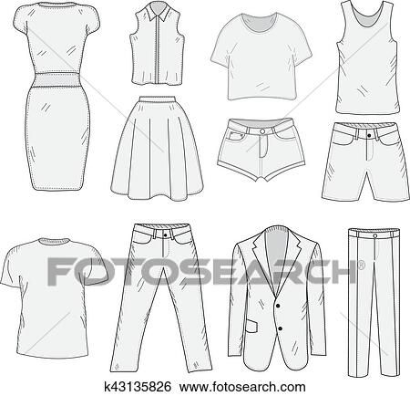 Men's and Women's Clothing set sketch. Clothes, hand