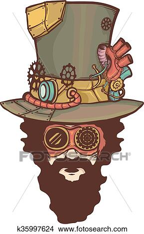 steampunk man clipart k35997624