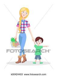 Family Shopping Cartoon Flat Vector Concept Clipart k50424453 Fotosearch