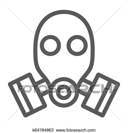 gas mask line icon