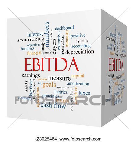 EBITDA 3D cube Word Cloud Concept Picture | k23025464 | Fotosearch