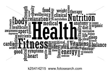 Clipart of Health and fitness word cloud k25414215